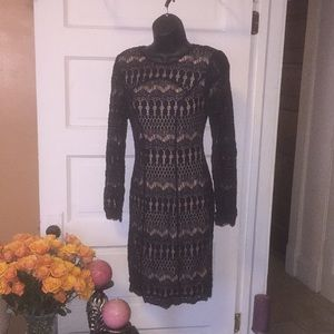 Elegant lace black cocktail dress WHBM